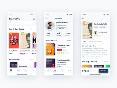 Book App iphone visual design ebook ui app minimal author article read book