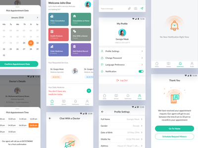 Health & Medical App patient app appointment detail empty state android app popup calendar healthy time document tracking medicine medical order appointment doctor typography vector illustration design ui