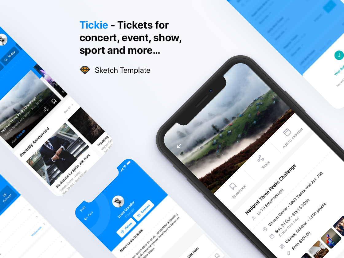 Tickie - Event & Conference Tickets Apps Sketch Template workshop tickets sketch template seminar schedule organizer exhibition event design system congresses conference concert business