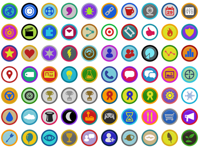 Symbly Gamification Badges icons gamification badges glyphs games stickers