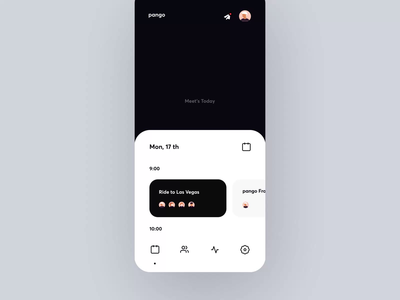Task's and Meet's Manager App Animation icons tapbar mobile ux ui profile ios design future calendar planner scheduler schedule meet clean cards business app motion animation