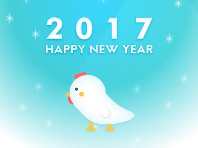 2017 Chickens Year card chickens happynewyear 2017