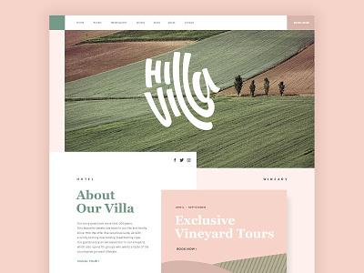 Hill Villa Homepage handmade typography typography logo branding bookings vineyard country villa hotel website
