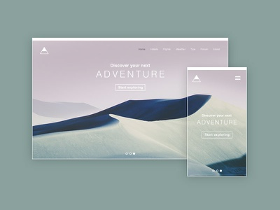 Adventure adventure hiking mountains landscape view desktop mobile responsive website