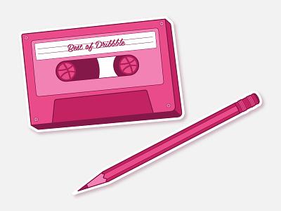 Mixtape Sticker Set set dribble sticker love vintage 80s cassette mixtape