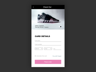 Credit card Checkout daily ui pink shoes store checkout ui
