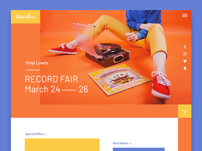 Record fair LP landing page saturated colourful records welcome header lp