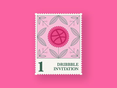 1 Dribbble invitation! stamp dribbble invitation invite