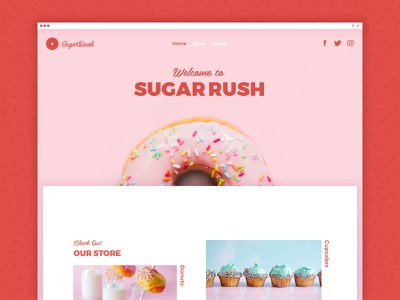 Sugerush candy shop cup cake store homepage