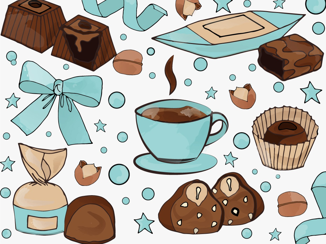 Sweet chocolate background vector handdrawn illustration holiday coffee chocolate sweet