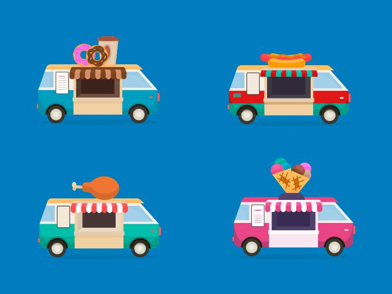 Food truck cartoon illustration vector summer truck food