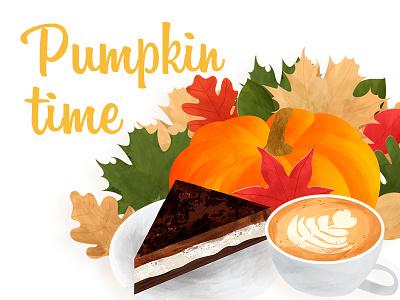 Autumn illustration with pumpkin, coffee and cake design latte cappuccino pumpkin leaves autumn coffee cake watercolor style illustration vector