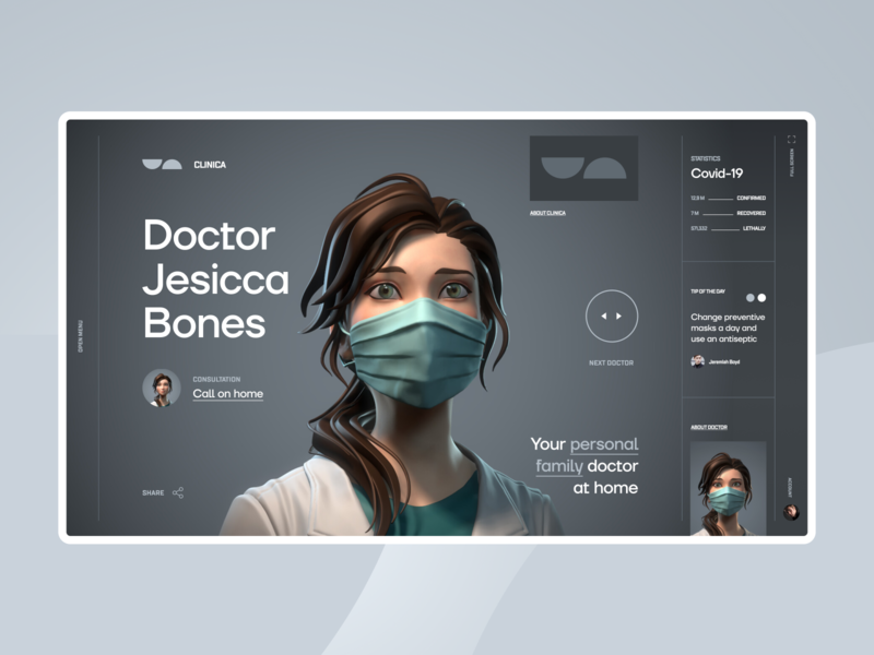 CLINICA Concept art futuristic website minimal homepage ux web ui typography design