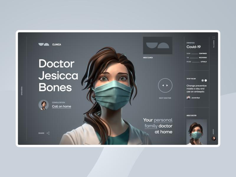 CLINICA Concept art futuristic website minimal homepage ux web ui typography design