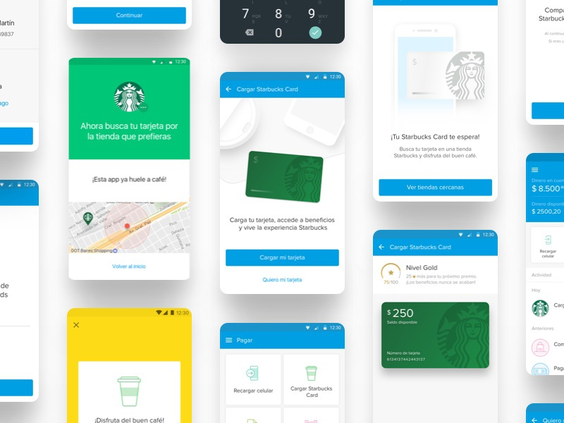 Starbucks Integration Wallet Mercado Pago android ux ui starbucks mobile wallet gif desktop design app animation