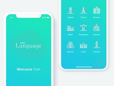 Language Learning App branding web interaction design mobile app clean ux ui