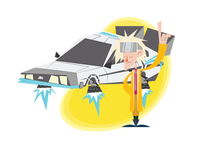 Doc Brown oz de leon time machine time travel back to the future illustration