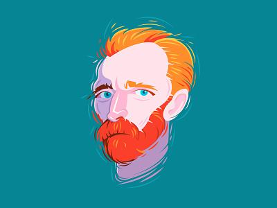 Van Gogh impressionism vector illustration portrait van gogh