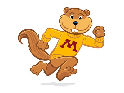 Goldy Gopher athletics running college sports illustration logo vector mascot gopher