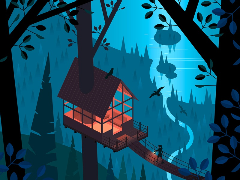 Social Distancing night wilderness woods lake treehouse isometric vector illustration