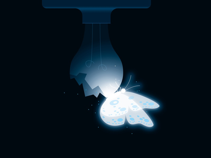 Emergence rebirth evolution transformation light illustration vector butterfly lightbulb chrysalis