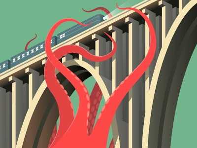 Giant Squid train isometric bridge squid monster vintage vector illustration