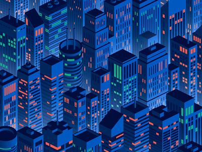 Night Skyline lights skyline city urban night isometric illustration vector