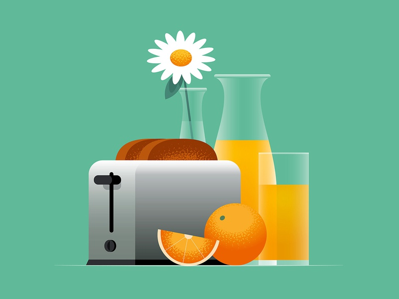 Breakfast toaster fruit orange vector illustration vector still life orange juice toast breakfast