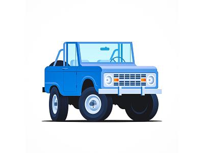 Bronco retro vintage classic car illustration vector