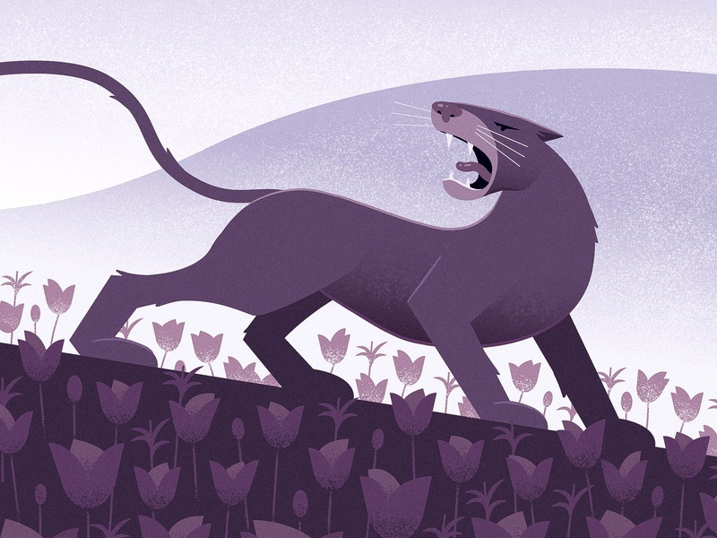 Mountain Lion flowers lion illustration vector