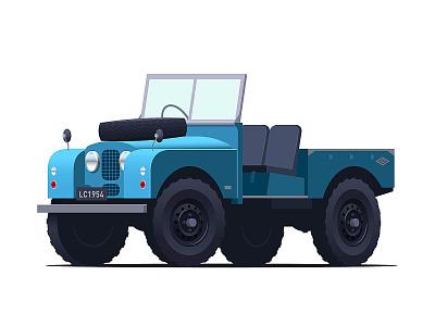 Land Rover retro classic car vintage vector