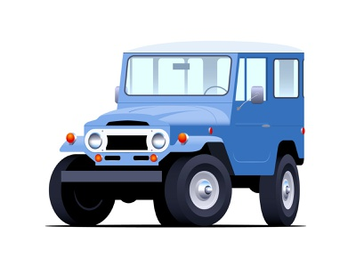 Toyota FJ40 suv classic car vintage isometric illustration vector