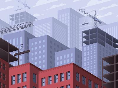Cityscape cranes architecture buildings development construction urban isometric illustration vector