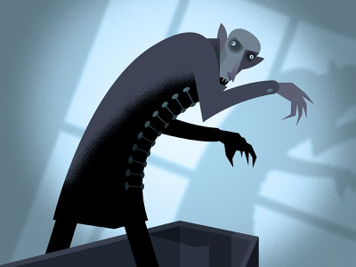 Nosferatu vector illustration vector shadows coffin caricature spooky monster vampire dracula halloween