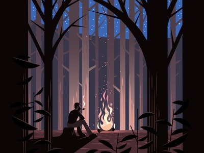 Campfire forest stars trees illustration vector night woods campfire camping