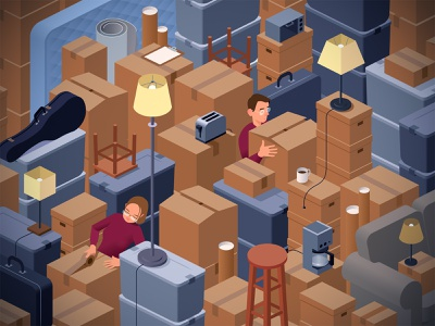 Moving work clutter moving boxes packing vintage illustration vector