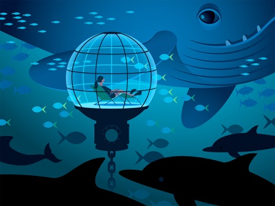 Undersea fins diver dolphin whale underwater fish illustration vector