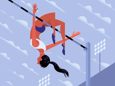 High Jump competition track and field olympics athlete illustration vector