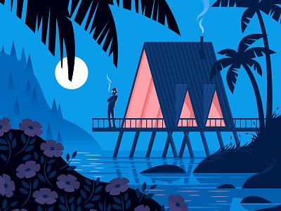 Social Distancing lagoon water serenity isolation tropical night woods illustration vector v