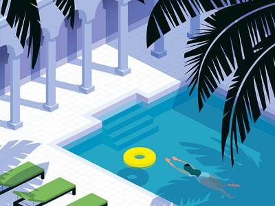 Swimmer tile architecture palm trees vector swimming pool