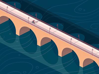 Stone Arch Bridge river bicycle isometric illustration vector minneapolis