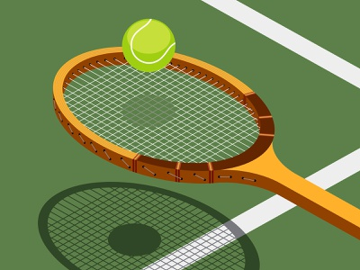 tennis illustration vector shadow sun racket sports tennis ball isometric tennis