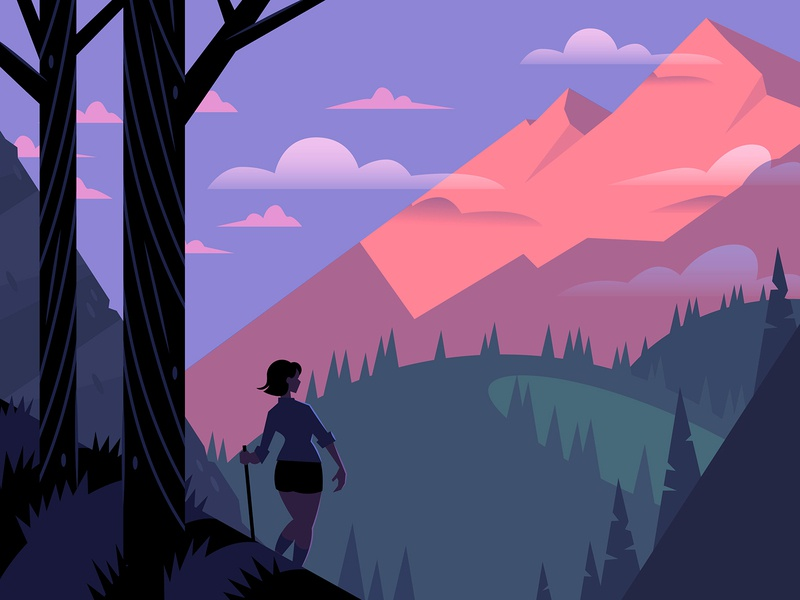 Hiker woods sunset forest mountains hiking illustration