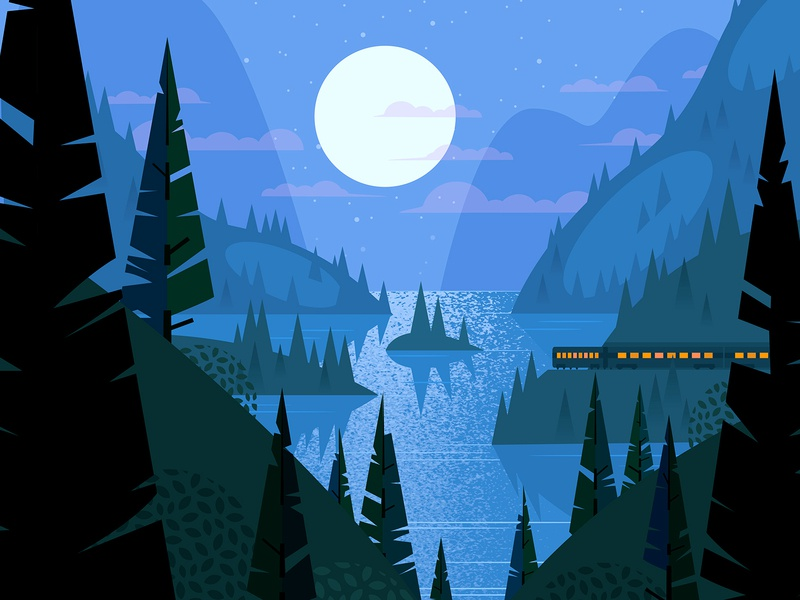 Inlet train moon nature woods vector illustration night water bay fjord inlet