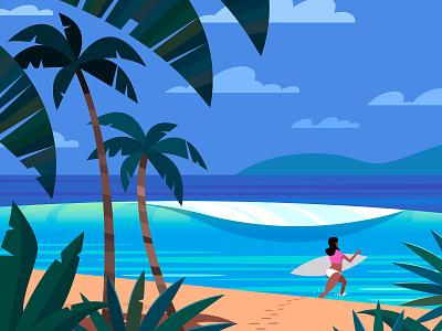 Surfer waves ocean tropical vector illustration surfing