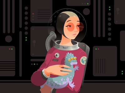 astronaut creature alien future sci-fi spaceship astronaut portrait illustration vector