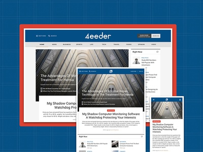 4eeder V2 Landing 02 adobe xd blog editorial publication news layouts ui kit website webdesign web ui landing
