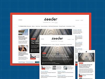 4eeder V2 Landing 03 adobe xd blog editorial publication news layouts ui kit website webdesign web ui landing