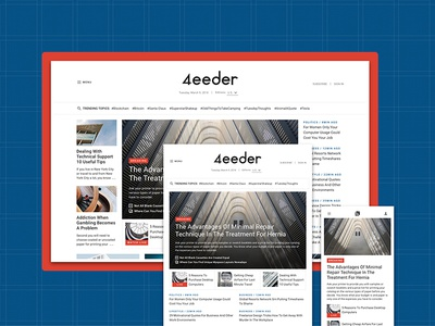 4eeder V2 Landing 03 adobe xd blog editorial publication news layouts ui kit website webdesign web ui landing