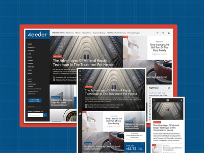 4eeder V2 Landing 06 adobe xd blog editorial publication news layouts ui kit website webdesign web ui landing